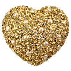 Vintage DIOR Heart Pin Brooch - Crystal Rhinestone w/ Faux Pearls