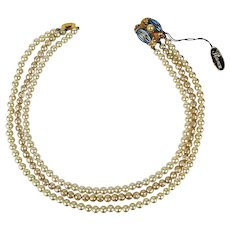 Vintage Florenza Faux Pearl 3 Strand Necklace w/ Great Clasp + Orig. Tag
