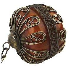 Old c1920 Bakelite Faturan HUGE Encased Bead Pendant Necklace