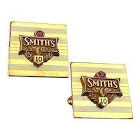 Vintage SMITH'S 12K Gold-Filled Cufflinks w/ Winged Tire Logo