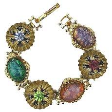 Vintage 6 Stone Link Bracelet Colorful Sparkly Flecked Glass