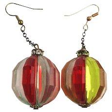 1960s Mod Lucite Melon Ball Dangle Earrings