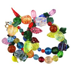 Crazy Colorful Glass Bead Fruit Salad Necklace