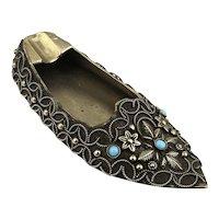 Ornate Old Ethnic Miniature Shoe Portable Ashtray