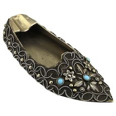 Ornate Old Ethnic Miniature Shoe Portable Ashtray