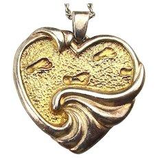 Gorham Sterling Silver Inspirational Heart Pendant Necklace - Footprints