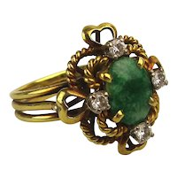 Estate 18K Gold Ring w/ Jade and Diamonds