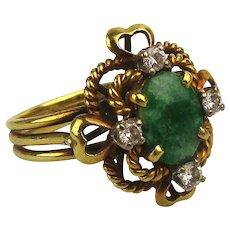 Estate 18K Gold Ring w/ Jade and Diamonds