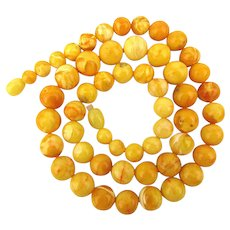 Genuine Egg Yolk Amber Bead Necklace Yellow Sunny Side Up