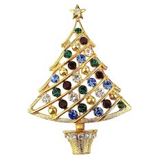 Very Merry Eisenberg Ice Christmas Tree Pin Brooch w/ Crystal Balls