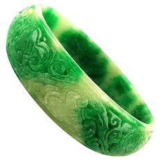 Old Chinese Carved Green - White Jade Bangle Bracelet