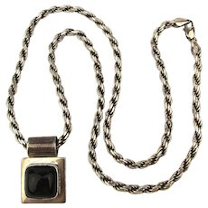 Mexican Sterling Silver Black Onyx Pendant on 925 Italy Rope Necklace