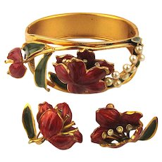 Gorgeous Enamel Gilded Hinge Bracelet w/ Matching Earrings