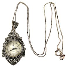 Vintage Sterling Silver Marcasite Watch Pendant Necklace