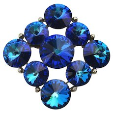 Signed Weiss Neon Blue Rivoli Crystal Pin Brooch