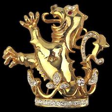 Vintage Lion Rampant Rhinestone Pin - Figural Brooch
