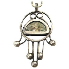 Vintage HAMSA Sterling Silver Amulet Pendant Necklace - Anti Evil Talisman