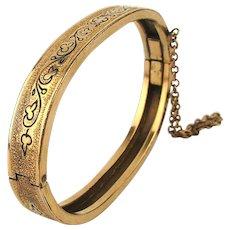 Victorian 1880s Girls Gold-Filled Etched Hinged Bracelet