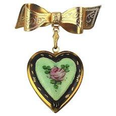 1940s Enamel Heart Locket Pin Brooch w/ Rose