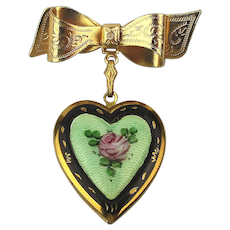 1940s Enamel Heart Locket Pin Brooch w/ Rose