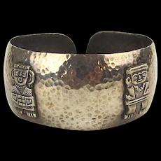 Old Hand Hammered Peruvian 900 Silver Cuff Bracelet
