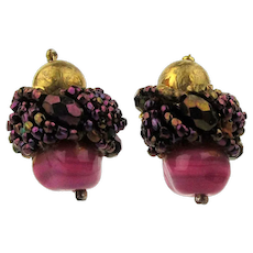Vintage VENDOME Art Glass Bead Clip Earrings w/ Patent