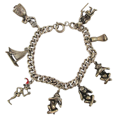 Old Victorian Sterling Silver Charm Bracelet w/ Very Unique Charms 2 Move