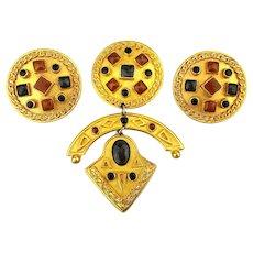 1980s Bold Art Pin / Clip Earrings Set