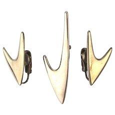 Modernist ORB Sterling Silver Pin Earrings Set in Boomerang Design