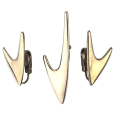 Modernist ORB Sterling Silver Pin Earrings Set in Boomerang Design