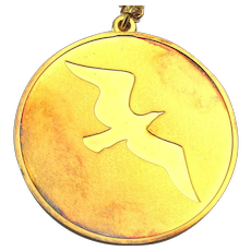 1973 Sterling Silver 24K Plated Jonathan Livingston Seagull Pendant Necklace