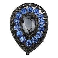 Vintage Black n Blue Rhinestone Pin Brooch