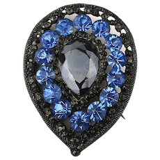Vintage Black n Blue Rhinestone Pin Brooch