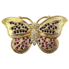Gilded Sterling Silver Jeweled Butterfly Pin Brooch