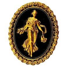 Vintage SPNEA Victorian Style Art Pin Enamel Gilt Lady