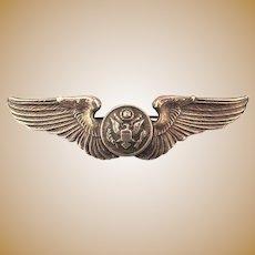 WW II Sterling Silver ARMY Wings Pin - Eagle Shield