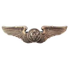 WW II Sterling Silver ARMY Wings Pin - Eagle Shield