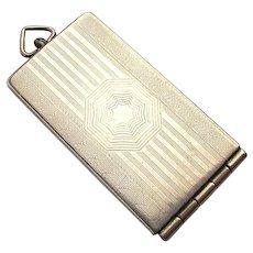 1920s Marathon Sterling Silver Locket Pendant Necklace Etched