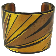 Bold Wide Art Laminate Cuff Bracelet by John Crutchfield