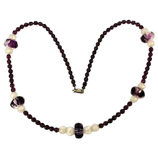 Pauline Rader Long Purple Glass Bead Necklace