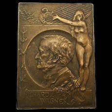 Old Bronze Medallion Plaque - Richard Wagner w/ Nude Harpist