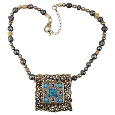 Unusual Art Necklace - Tahitian Pearls Sterling Silver Jewels & More