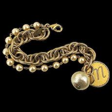 Vintage Faux Pearl Chains Initial ~ M ~ Charm Bracelet Designer