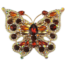 Mega 4 Inch Rhinestone Covered Butterfly Pin Brooch