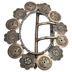 Antique Chinese Coin Silver Engraved Buckle - Pendant