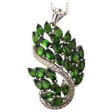 Pretty Sterling Silver CZ Rhinestone Pendant Necklace