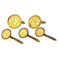 Vintage Gold-Filled Cufflinks Stud Set - SET