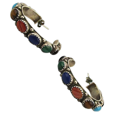 Sterling Silver Multi Gemstone Hoop Earrings - Turquoise Lapis Onyx Malachite + More