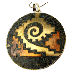 Taxco 925 Sterling Mexican Chip Inlay Pendant Necklace