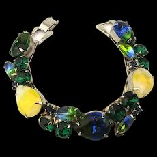 Signed Weiss Multi Color Art Glass Rhinestone Bracelet